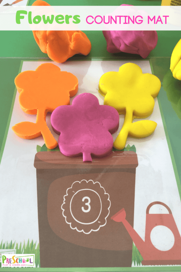 Counting to 10 activity uses flower playdough mats to allow kids to count and play with playdough while working on early math skills. Use these play doh mat with toddler, preschool, pre-k, and kindergarten age kids for your spring theme  or flower theme this  April, May and June! Simply download pdf file with the spring activities for preschoolers and you are ready to play and learn!