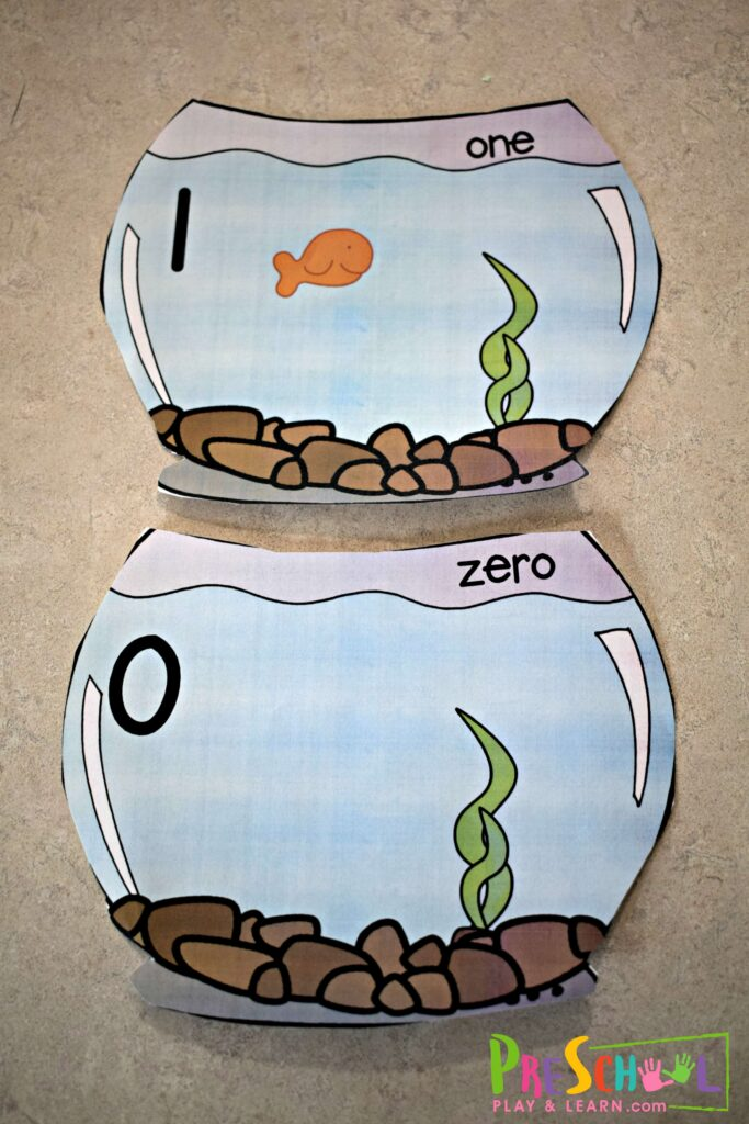 Super cute free printable fish cracker counting cards (bowls)