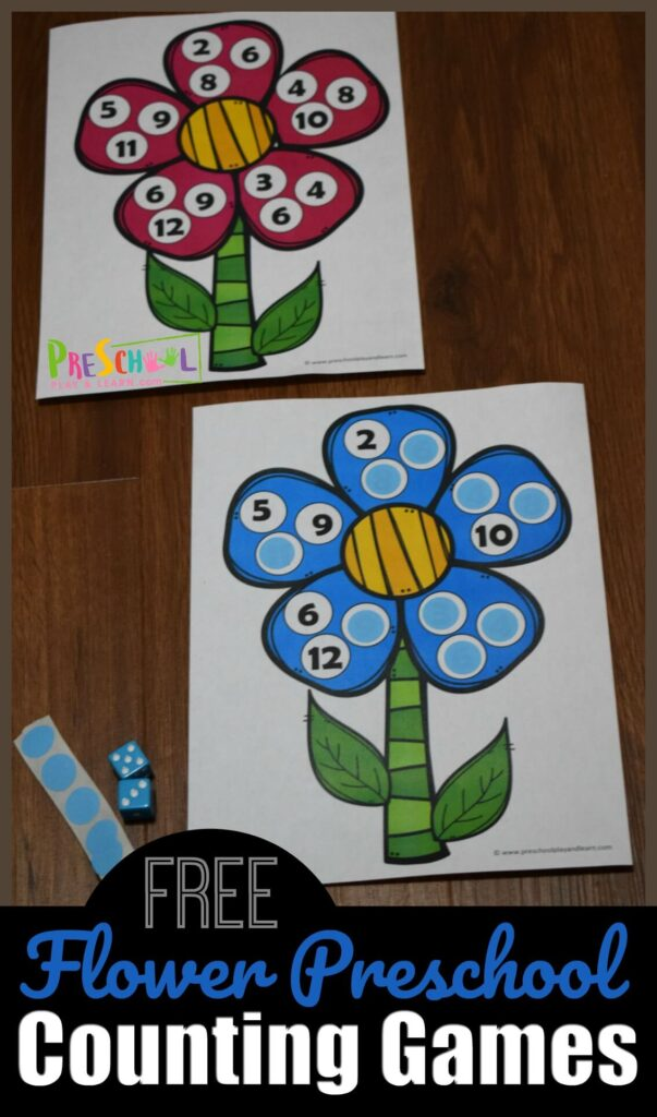 FREE Flower Preschool Counting Game - fun math game to help kids practice counting 1-12. Great hands on math activities for preschoolers, toddler, prek, and kindergarten in the spring. #preschool #mathgames #counting