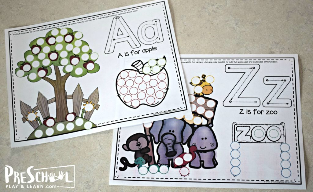 These super cute free printable alphabet placemats are such a fun way to help reinforce alphabet recognition, color recognition, and pincer grip all at the same time.