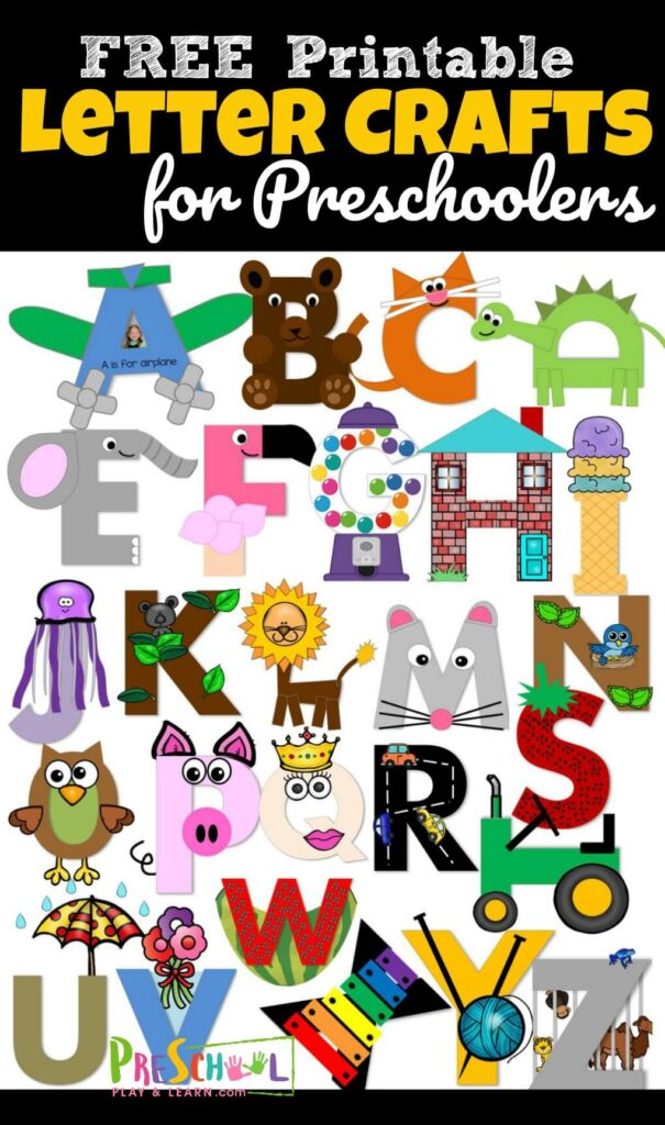 26 adorable alphabet crafts to make to practice uppercase letter recognition. These letter crafts are NO PREP as you just print, color, cut, and paste to make these letter crafts for toddler, preschool, prek, and kindergarten. So many really CUTE crafts for kids #letteroftheday #lettercrafts #craftsforkids