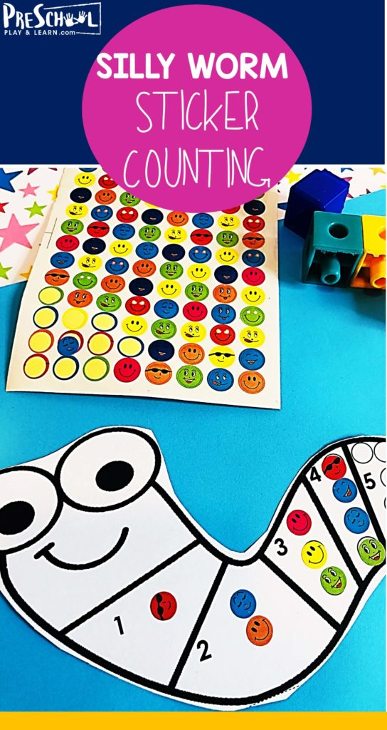 FREE Silly Worm Count to 10 with Stickers - this free printable activity is a fun way for preschool, prek, and kindergarten age kids to practice counting 1-10. #preschool #counting #preschoolmath