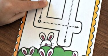 count the spring bunnies at the bottom of the number flashcards and then trace the number
