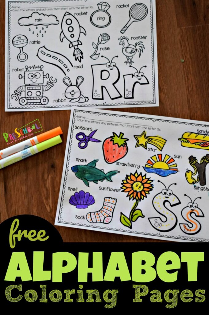 FREE CUTE Alphabet Coloring Pages - these free printable alphabet worksheets are super cute and such a fun way to practice beginning sounds letters make while strengthening fine motor skills.. Perfect for toddler, preschool, and kindergarten age kids #preschool #alphabet #homeschooling