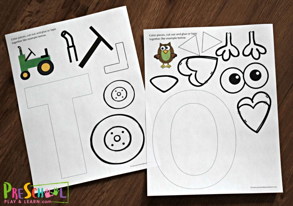 Printable Letter T and Letter O alphabet crafts