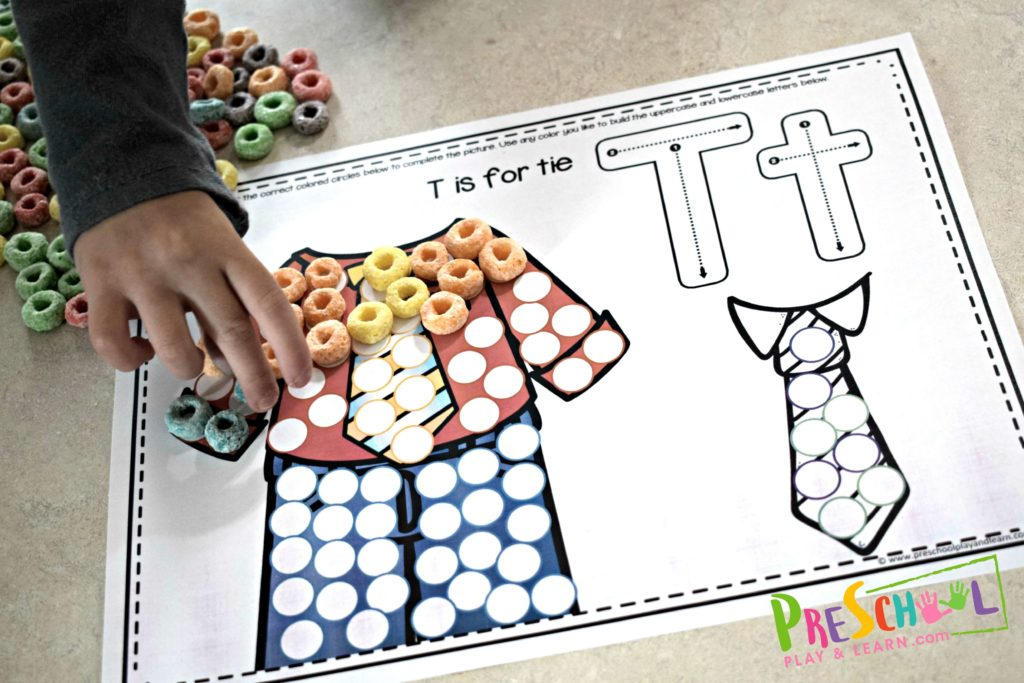T is for tie alphabet placemat