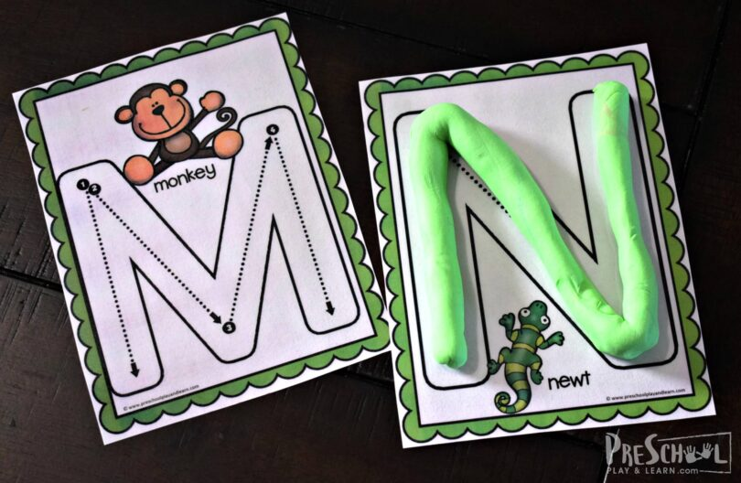 Use these alphabet playdough mats to make letter m is for monkey and letter n is for newt