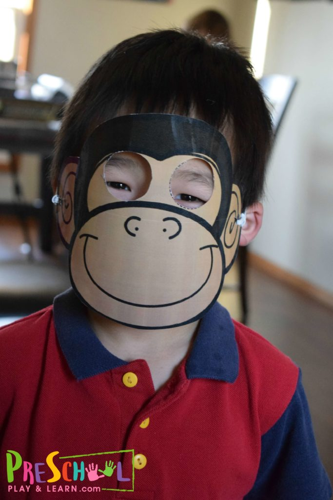 super cute free printable monkey mask for toddler and preschool kids