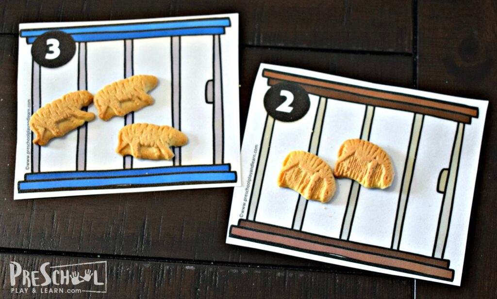 Kids will count out the correct number of animal cookies as the number on the animal enclosure.
