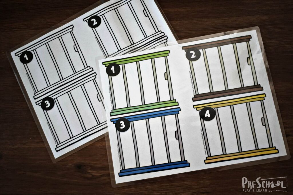Animal cages printable for practicing counting 1-10. Available in color and black and white.