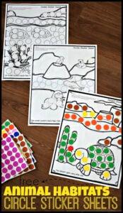 animal habitats kindergarten worskheets with stickers
