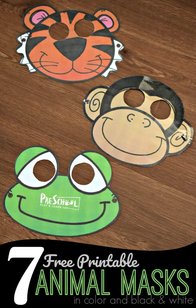FREE Printable Animal Masks - super cute animal face masks in color and black and white or color to print for kids. Super cute for pretend play, zoo theme, and kids activities for toddler, preschool, and kindergarten age kids. Includes: monkey, tiger, frog, giraffe, lion, bear, and frog. #animals #preschool #kindergarten