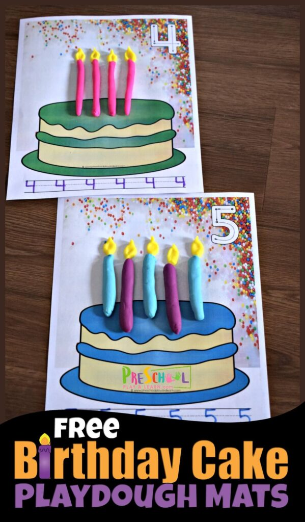 FREE Printable Birthday Candle Playdough Mats for practicing counting to 10.