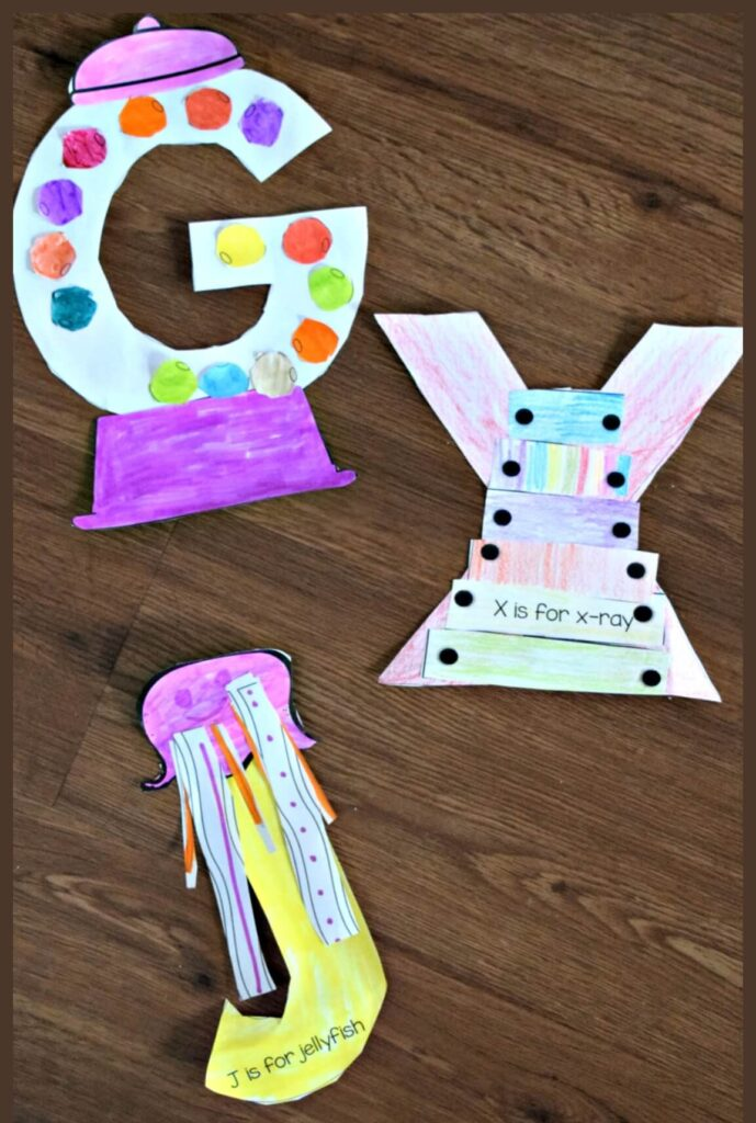 Printable capital letters crafts for letter g, letter x, and letter J