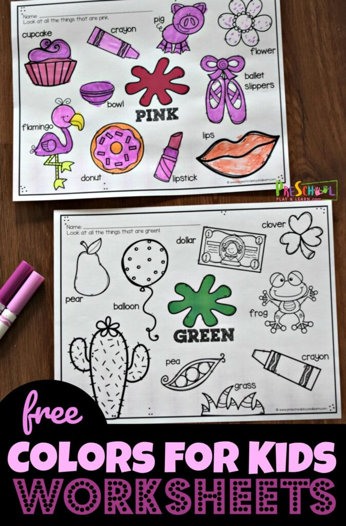 FREE Colors for Kids Worksheets - these free printable worksheets are great for toddler, preschool, and kindergarten age kids learning colors #learningcolors #colorsforkids #preschool