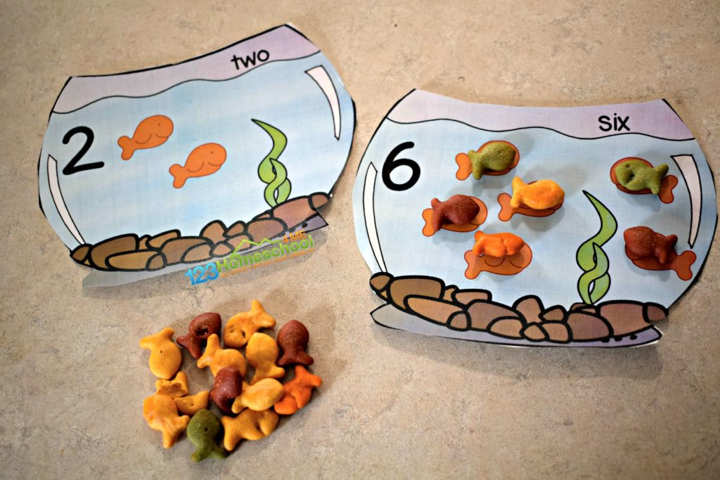 Kids will count to 10 with goldfish crackers in this math activity for preschoolers