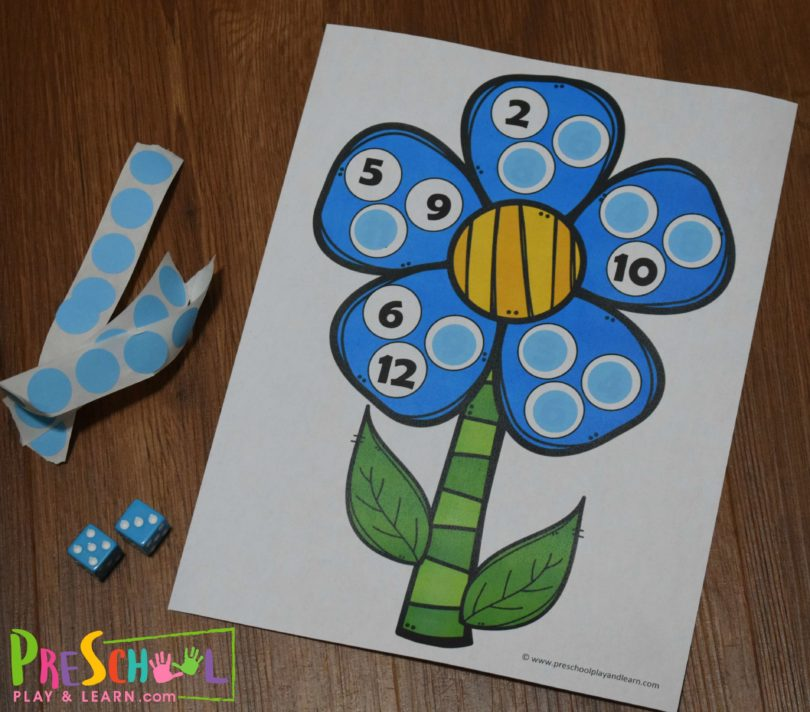 This hands-on spring counting game is a great way to practice counting while having fun decorating your flower.