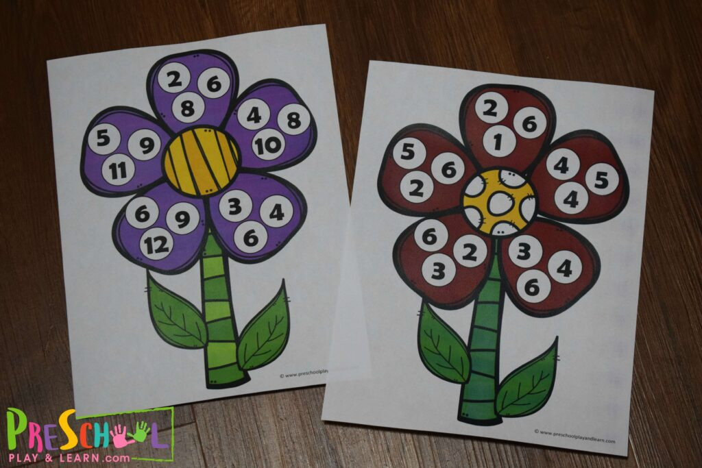 This free printable activity is a fun way for preschoolers to practice counting numbers with a spring themed flower math activity.