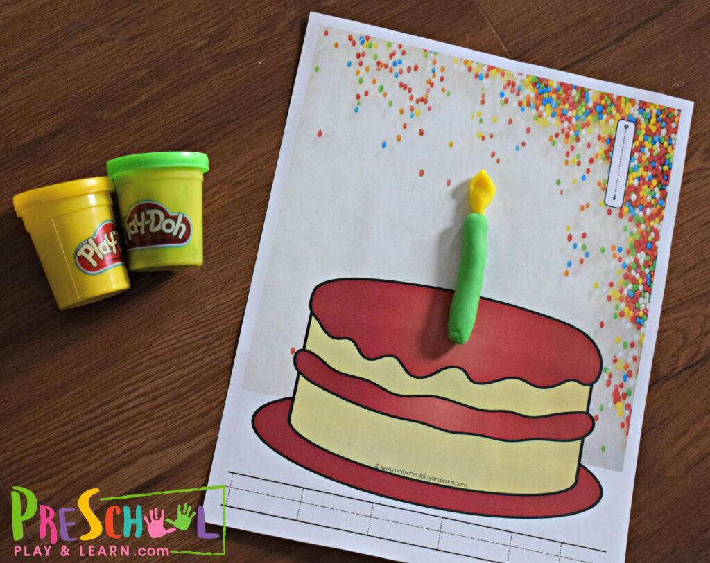 Toddler, preschool and kindergarten students will practice counting to 10 by making the correct number of playdough candles on the birthday cake.