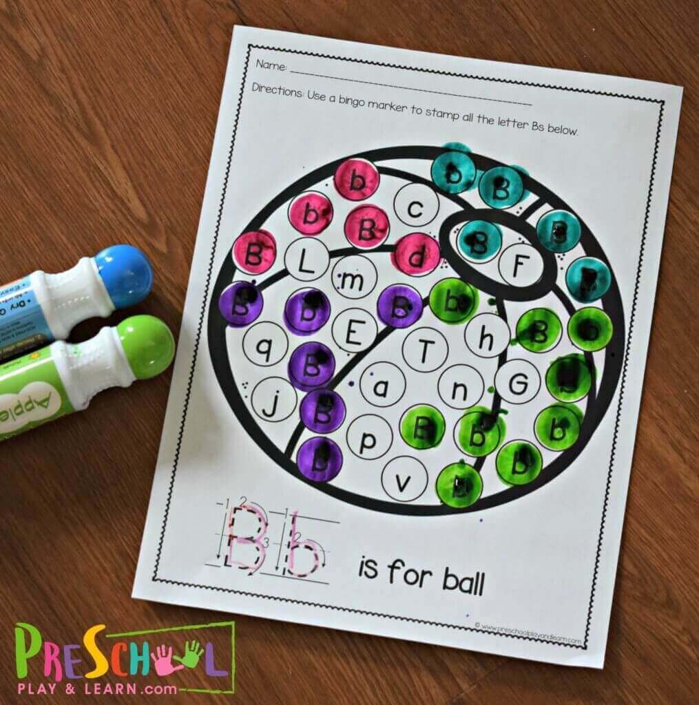 practice letter identification with these Find the Letter preschool worksheets with do a dot markers and alphabet tracing for toddler, prek, preschool, and kindergarten students