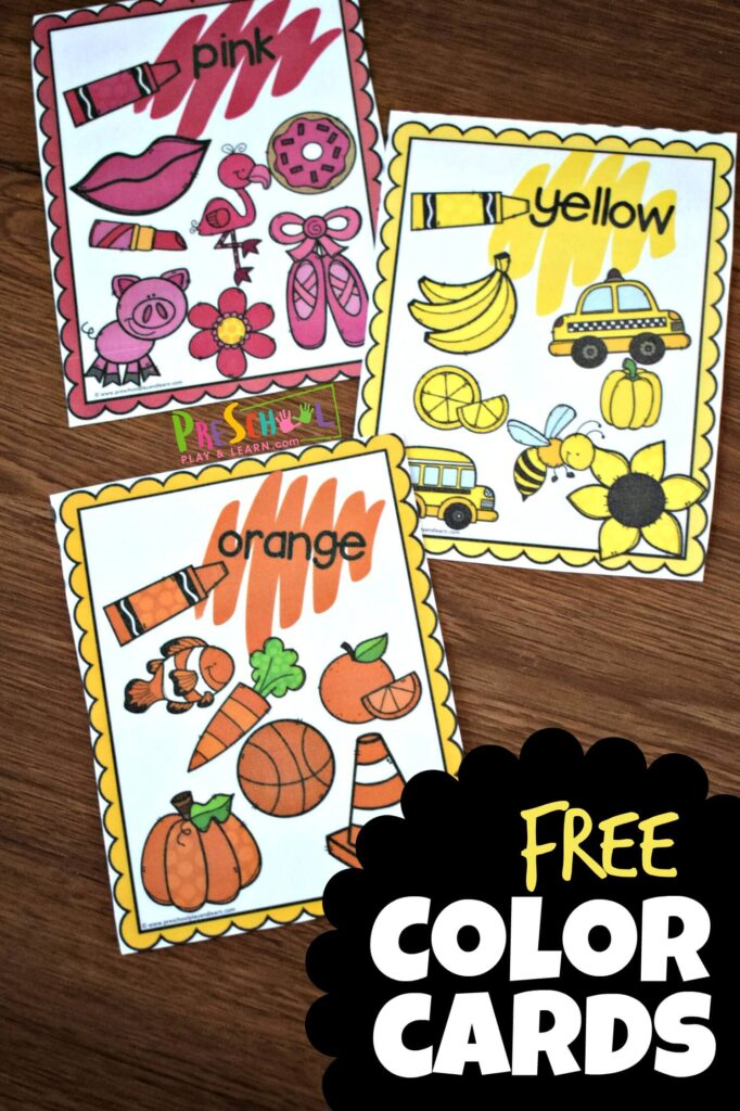 FREE Color Cards are a fun visual aid for kids learning colors #colors #toddler #prek