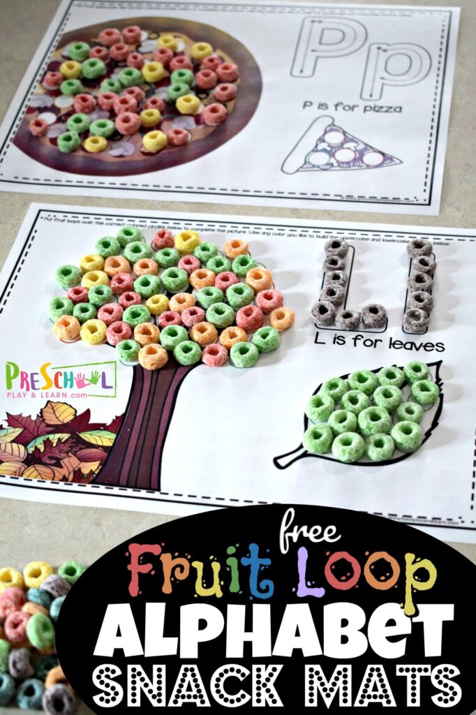 FREE Fruit Loop Alphabet Snack Mats - super cute alphabet mats for every letter from A to Z. Kids use pincer grip to put fruit loops, cheerios, skittles, or M&Ms to complete the pictures. Fun alphabet activity for toddler, preschool, prek, and kindergarten age kids. #alphabet #preschool #kindergarten