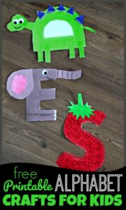FREE Printable Alphabet Crafts for kids - super cute A to Z crafts for toddler, preschool, prek, and kindergarten age kids.