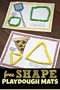 Free shape playdough mats perfect math activities for preschoolers