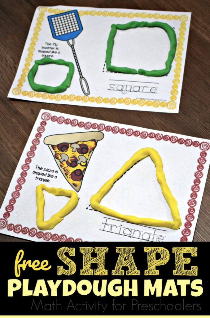 FREE Shape Playdough Mats are a fun, hands on math activity for preschool, prek, and kindergarten age kids #shapes #playdoughmats #prek
