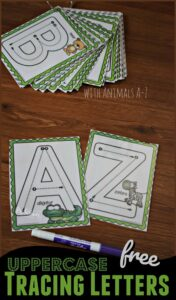 FREE Uppercase Alphabet Cards with Animals from A-Z perfect for helping toddler, preschool, and kindergarten age kids practice tracing letters while having fun #alphabet #preschool #uppercase