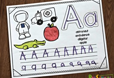 Letter a handwriting worksheets with tracing lines and places to color