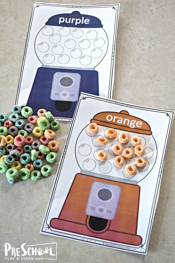 This gumball printable is a fun, hands on math activity to help kids learning colors.