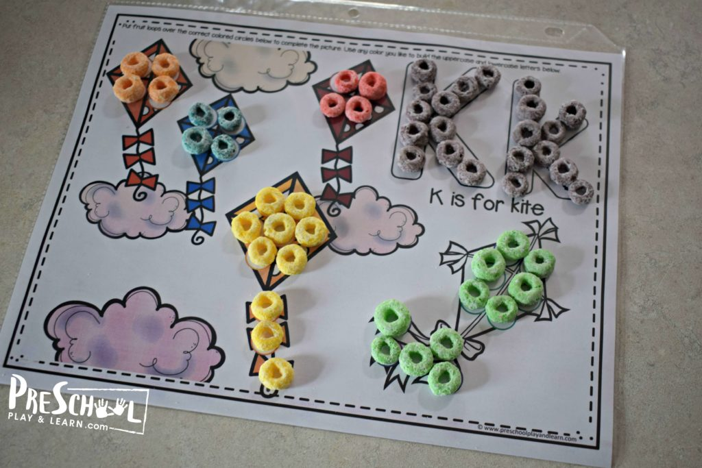 K is for kite worksheet to help with learning colors
