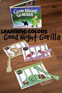 Learning Colors with Good Night Gorilla Book Activity - this is such a fun free printable activity for a zoo theme, animal theme for toddler, preschool, prek, and kindergarten age kids learning colors #colors #preschool #goodnightgorilla