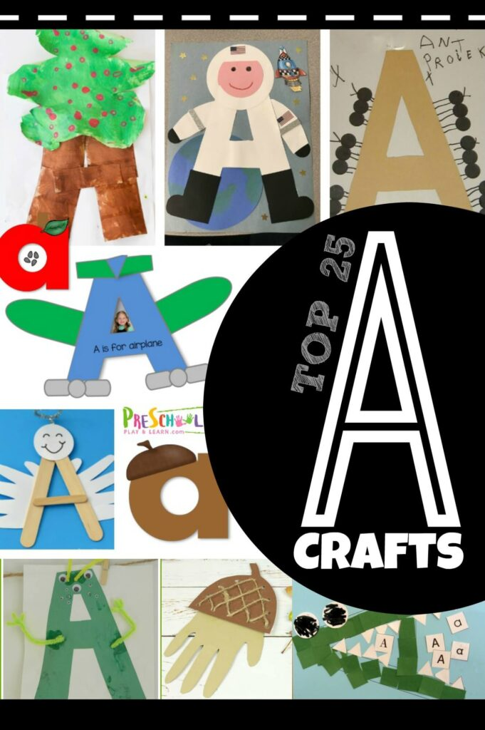 Letter A Crafts - both uppercase and lowercase letter crafts for toddler, preschool, and kindergarten age kids learning their abcs. #alphabet #craftsforkids #preschool