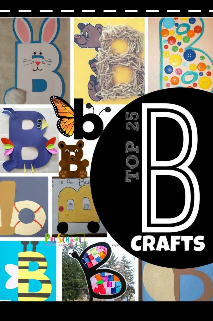 Letter B Crafts - both uppercase and lowercase letter crafts for toddler, preschool, and kindergarten age kids learning their abcs. #alphabet #craftsforkids #preschool