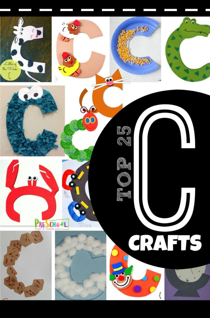 Letter C Crafts - both uppercase and lowercase letter crafts for toddler, preschool, and kindergarten age kids learning their abcs. #alphabet #craftsforkids #preschool