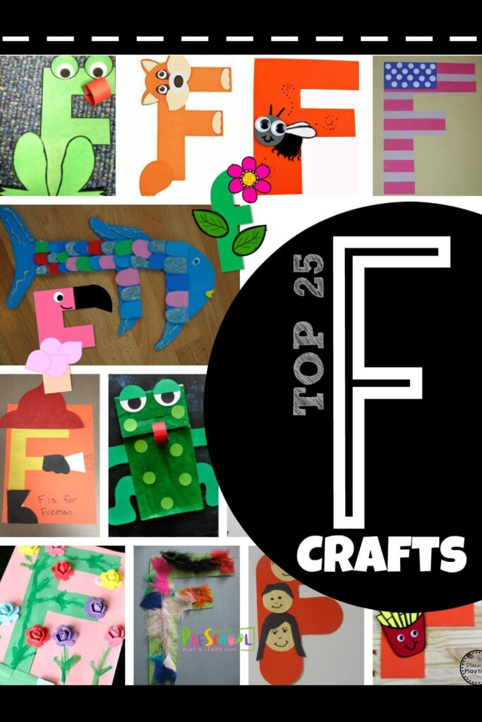 TOP 25 Letter F letter crafts - tons of super clever and unique alphabet crafts for toddler, preschool, prek, and kindergarten age kids great for letter recognition or letter of the week #preschool #alphabet #letterf