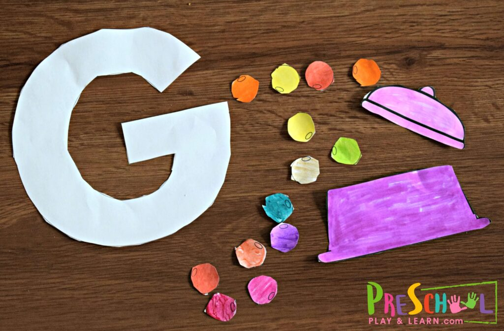 Glue together g is for gumball, letter g craft for toddler, preschool, and kindergarten kids.