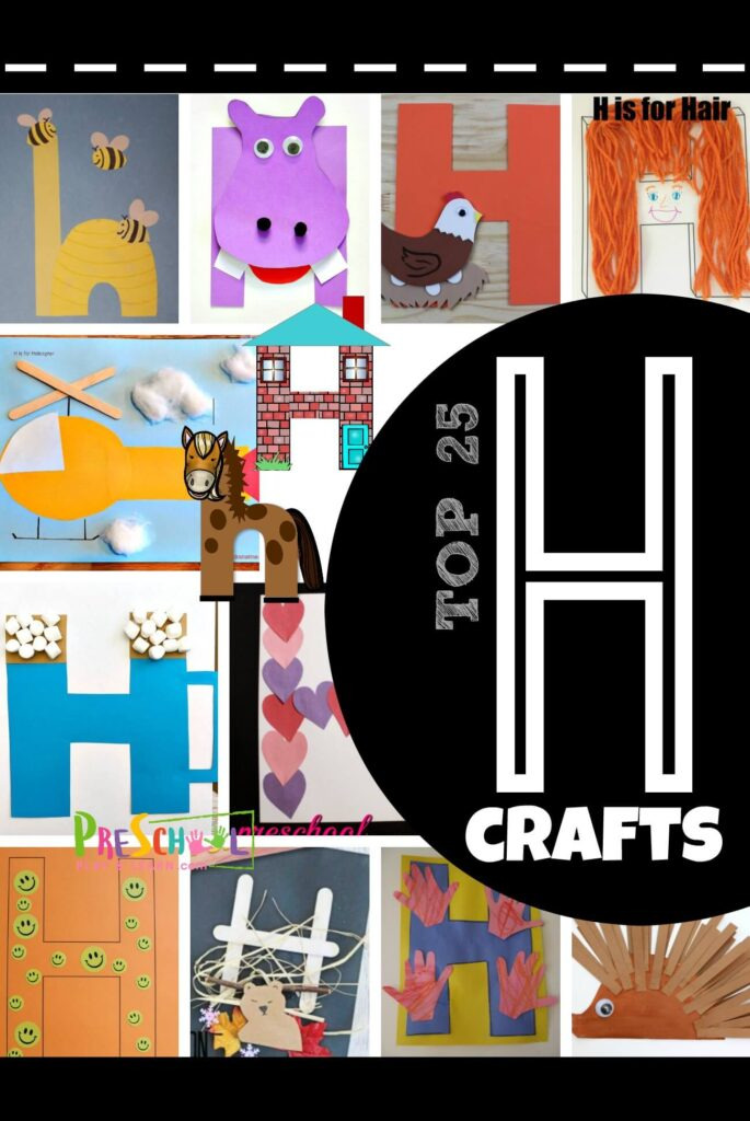 TOP 25 Letter H Crafts - so many cute, clever and unique craft for kids! These alphabet crafts are perfect for toddler, preschool, prek, and kindergarten age kids #alphabet #lettercrafts #preschool