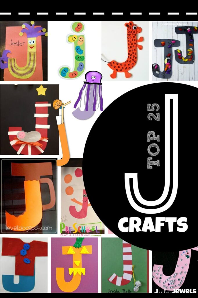 TOP 25 Letter J Crafts - super cute crafts including jester, jelly bean, jaguar, jelly bean, jesus, jug, juggler, jacket, jack o lantern, jingle bells, jewel, jelly fish, juice, and more! These alphabet crafts are great for toddler, preschool, prek, and kindergarten age kids #alphabet #lettercrafts #preschool