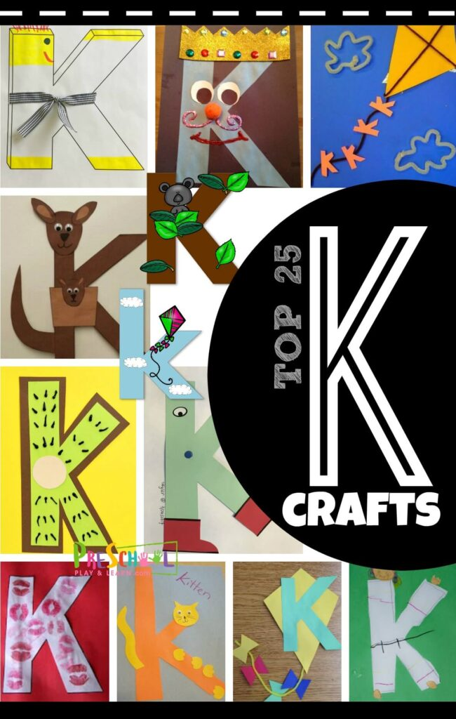 You will love these creative and fun to make 25 letter K crafts! We have found so many adorable letter k preschool crafts for pre-k, kindergarten, toddler, and first grade students. Working on letter recognition has never been more fun than making upper and lowercase letter k is for kangaro, karate, king, kite, koala, kiwi, kitten, kiss, and more!