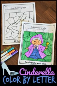 Cinderella color by letter printable to work on letter recognition worksheets