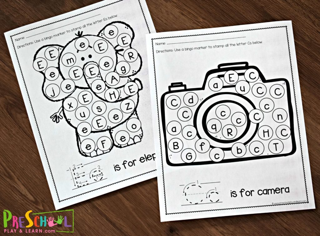 Free printable black and white letter recognition worksheets to help toddlers, preschoolers, pre k, kindergarten age student working on identifying upper and lowercase letters; featured E is for elephant and C is for camera letter find printables