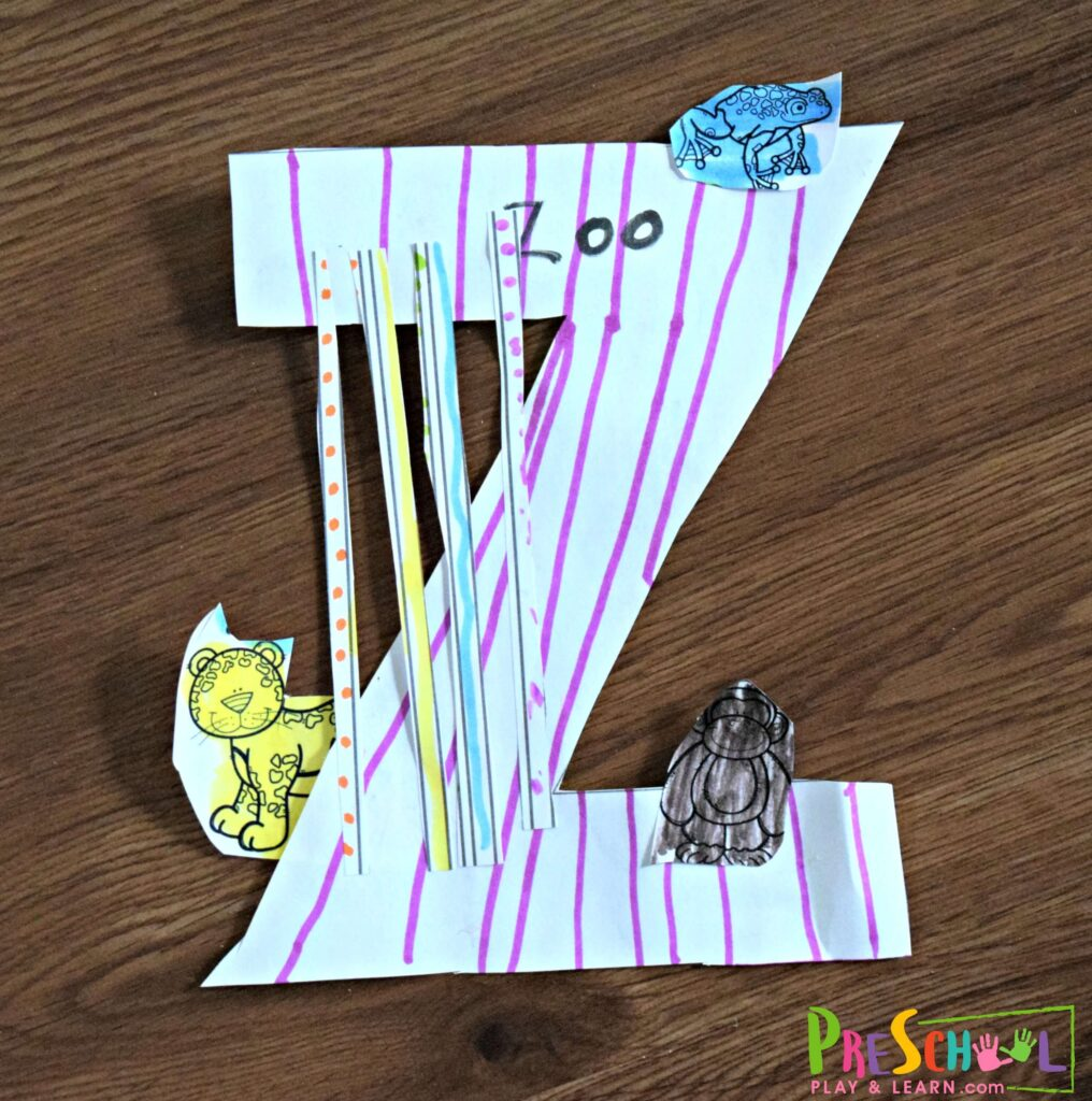 Super cute Letter z craft for preschoolers - z is for zoo.
