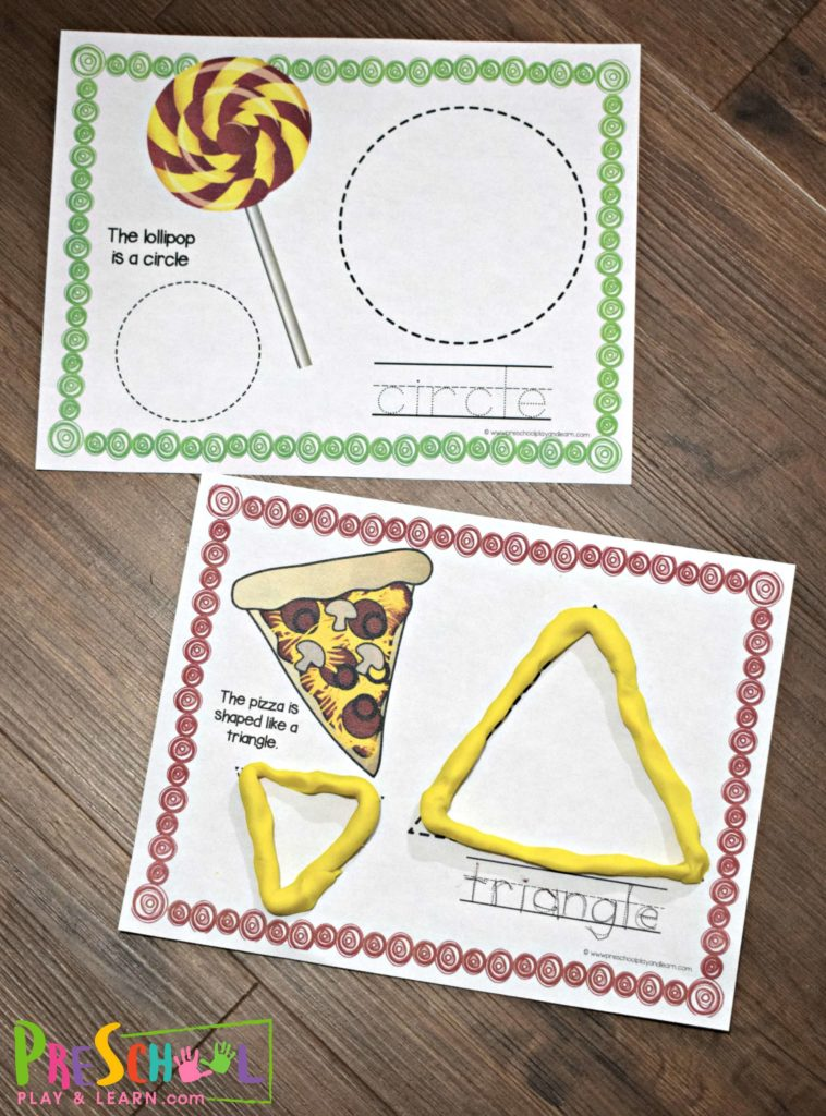 These free printable shape playdough mats are a fun math activities for preschoolers.