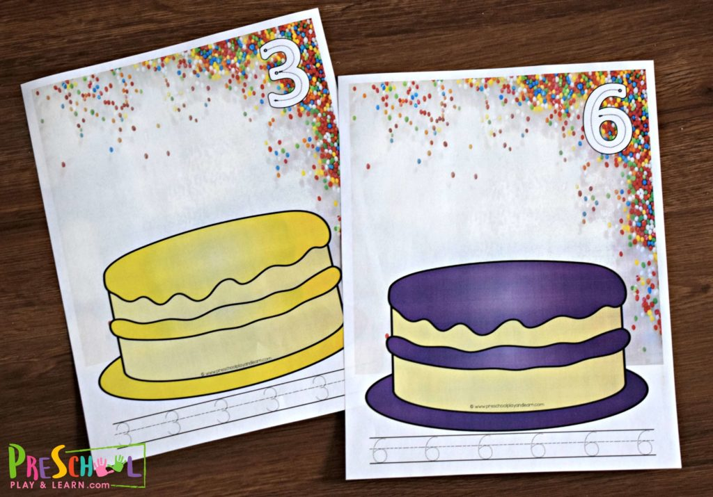 Free printable playdough mats of various colored birthday cakes for kids to practice counting and writing numbers