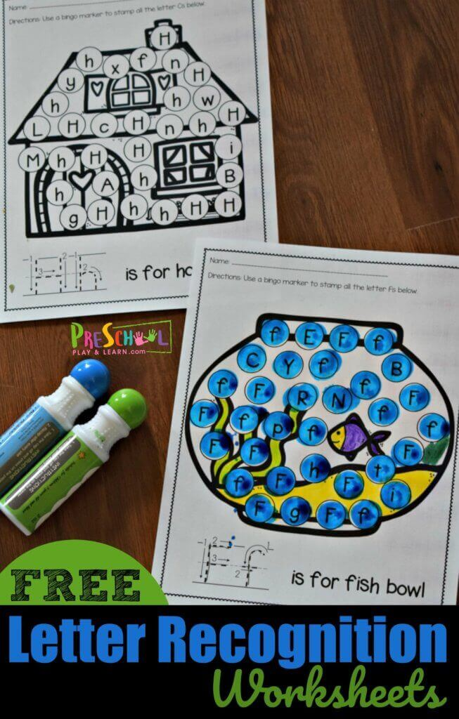 These super cute free preschool worksheets are such a fun way for toddler, preschool, pre k, and kindergarten age students to practice identifying upper and lowercase letters. Simply print the Letter Recognition Worksheets, there is a page for letters A to Z, and have fun playing i spy letters with crayons, markers, bingo daubers, or stickers! Did I mention these letter identification worksheets are FREE!