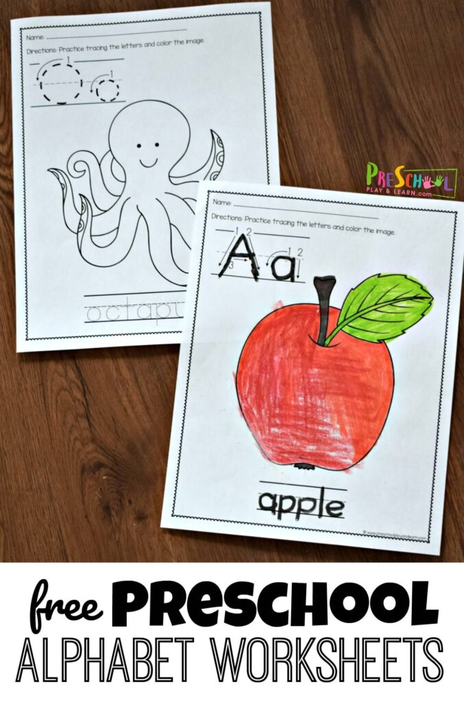 FREE Preschool Alphabet Worksheets - these free printable preschool worksheets are a fun way for kids to learn their letters #alphabet #preschool #prek