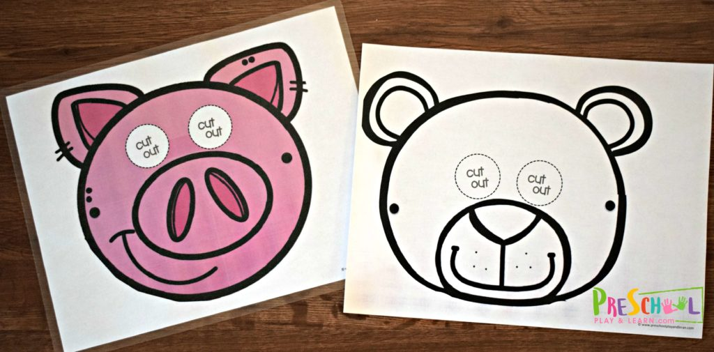 pig face mask and bear face mask in color or black and white.